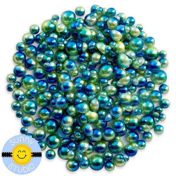 Sunny Studio Stamps Blue & Green Ombre 2-Tone Loose Flat Back Half Pearls Embellishments- 3mm, 4mm, 5mm & 6mm