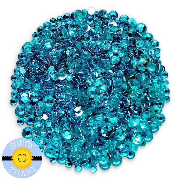 Sunny Studio Stamps Transparent Blue Topaz Teal Turquoise Faux Jewels Rhinestones Crystals Gems- 3mm, 4mm & 5mm