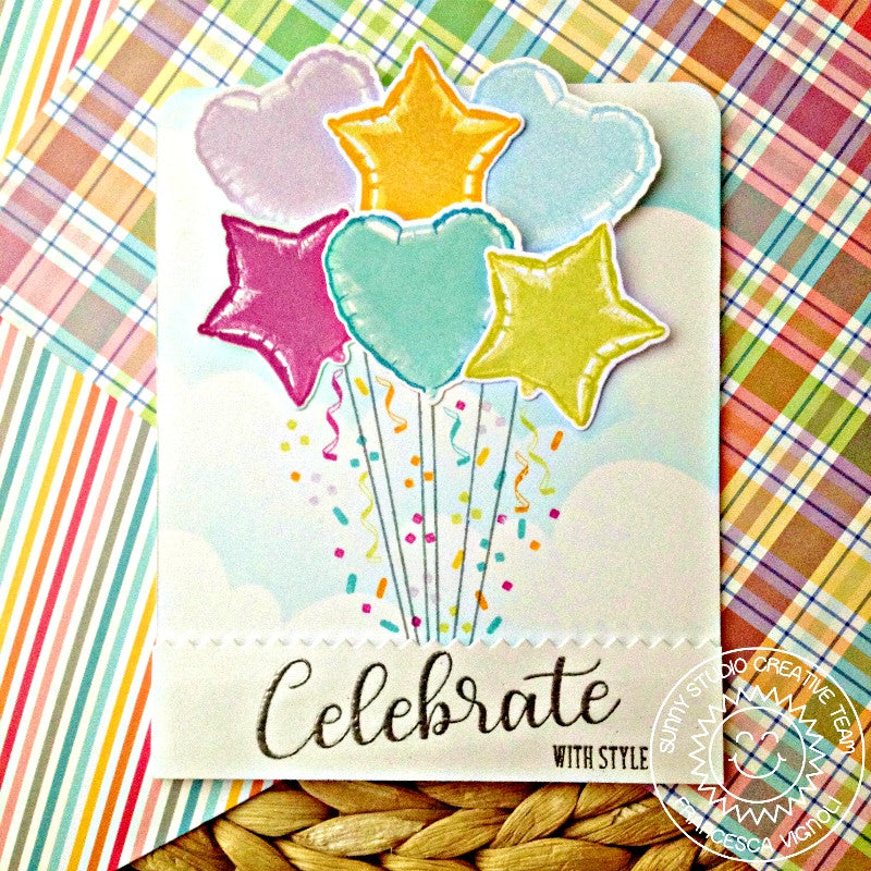 Sunny Studio Stamps Bold Balloons Star & Heart Bouquet Card by Franci