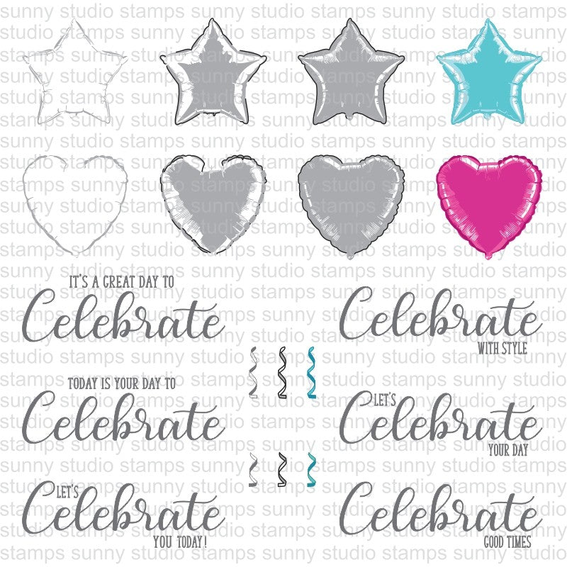 Sunny Studio Stamps Bold Balloon Heart & Star Mylar Color Layering Stamping Guide