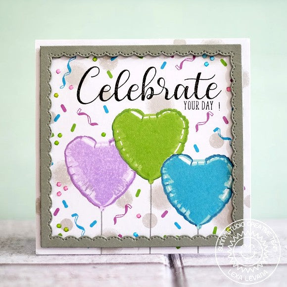 Sunny Studio Stamps: Birthday Balloon Lavender, Green & Blue Mylar Heart Celebrate Card by Lexa Levana.