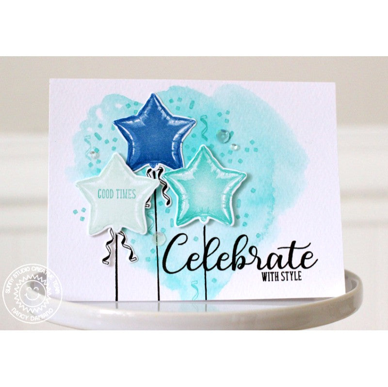 Sunny Studio Stamps Bold Balloons Aqua & Blue Star Mylar Birthday Card