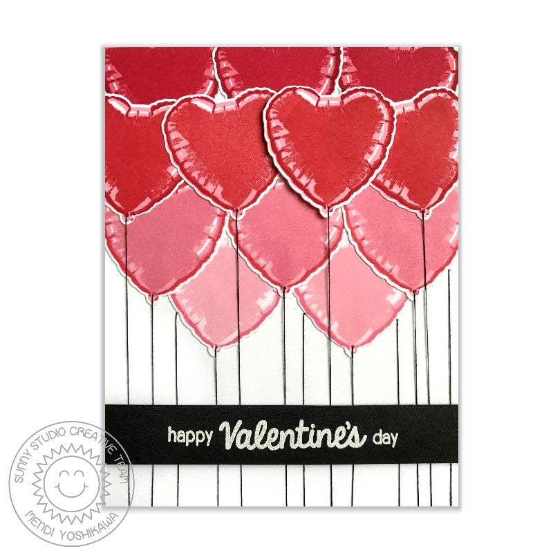Sunny Studio Stamps: Bold Balloons Color Layering Ombre Heart Valentine's Day Card by Mendi Yoshikawa