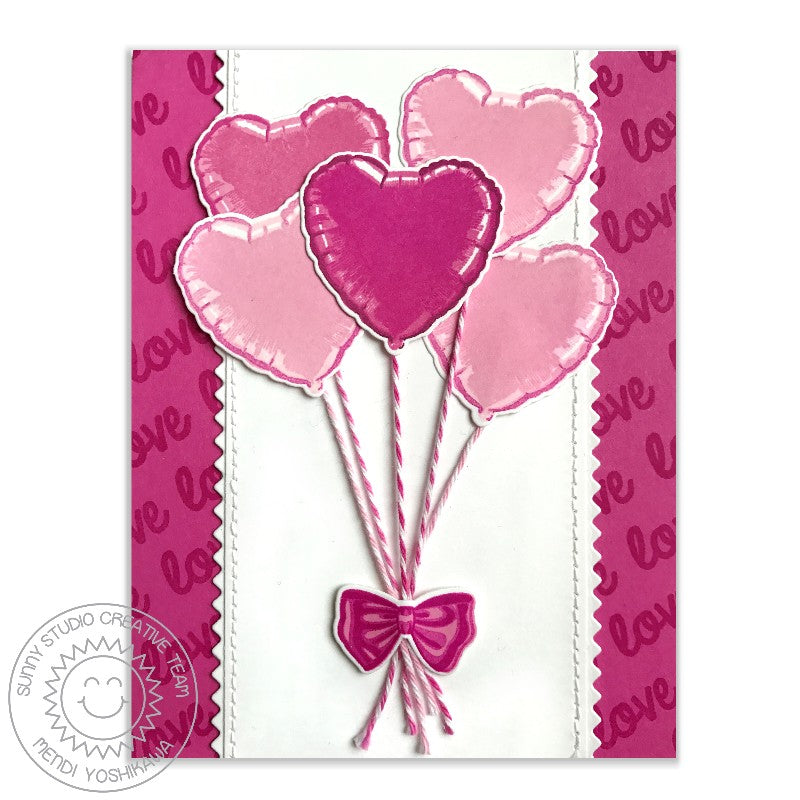 Sunny Studio Stamps: Bold Balloons Pink Heart Balloon Bouquet Love Card by Mendi Yoshikawa