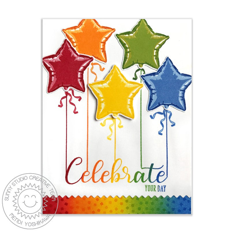 Sunny Studio Stamps: Ric Rac Borders Rainbow Star Balloons Card by Mendi Yoshikawa