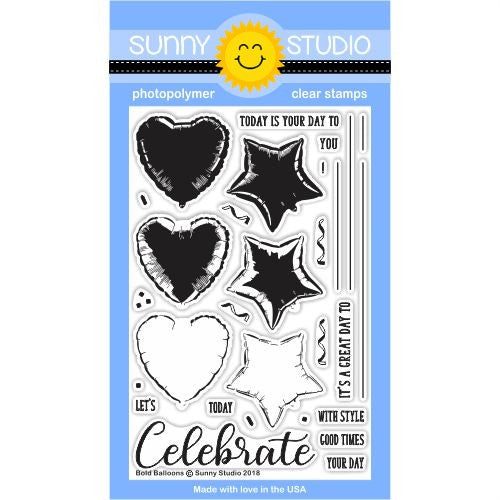 Sunny Studio Stamps Bold Balloon Heart & Star Layering 4x6 Clear Photopolymer Stamp Set
