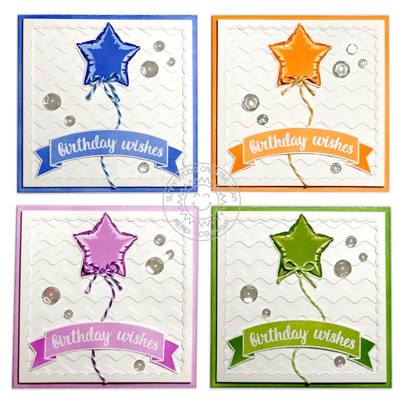 Sunny Studio Stamps Fancy Frames Square Star Balloon Birthday Card Set