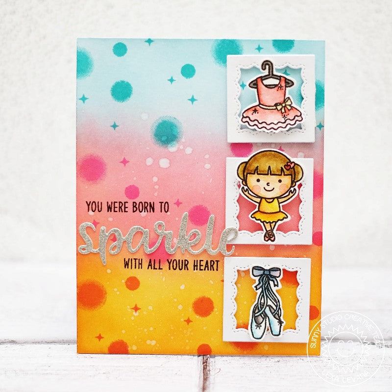 Sunny Studio Stamps Rainbow Ballet Themed Card using Sparkle Word Die