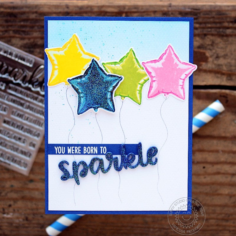Sunny Studio Stamps Bold Balloon Glittery Star Mylar Balloon Card