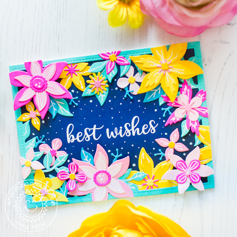 Sunny Studio Best Wishes Colorful Flower Card (using Everyday Greetings stamps)