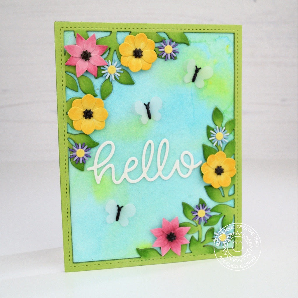 Sunny Studio Stamps Flowers & Butterflies Hello Card by Angelica (using Botanical Backdrop dies)
