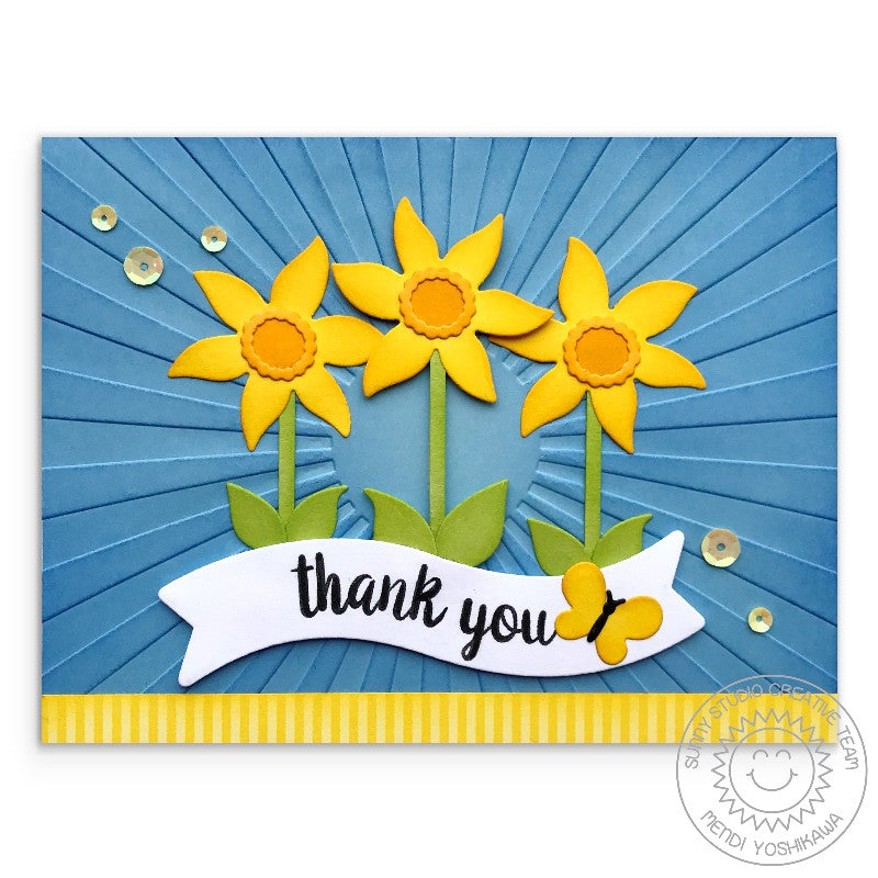 Sunny Studio Stamps Daffodil Thank You Card (using Sunburst Sun Ray 6x6 Embossing Folder)