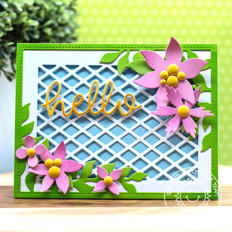 Sunny Studio Stamps Floral Hello Card (using Botanical Backdrop Die)