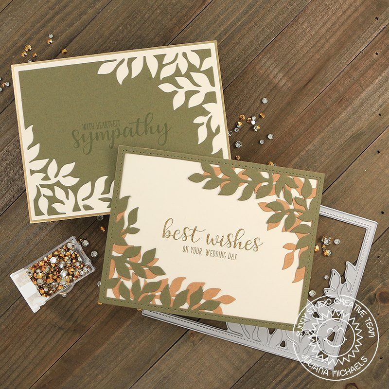 Sunny Studio Leafy Wedding & Sympathy Card by Juliana Michaels (using Everyday Greetings stamps)