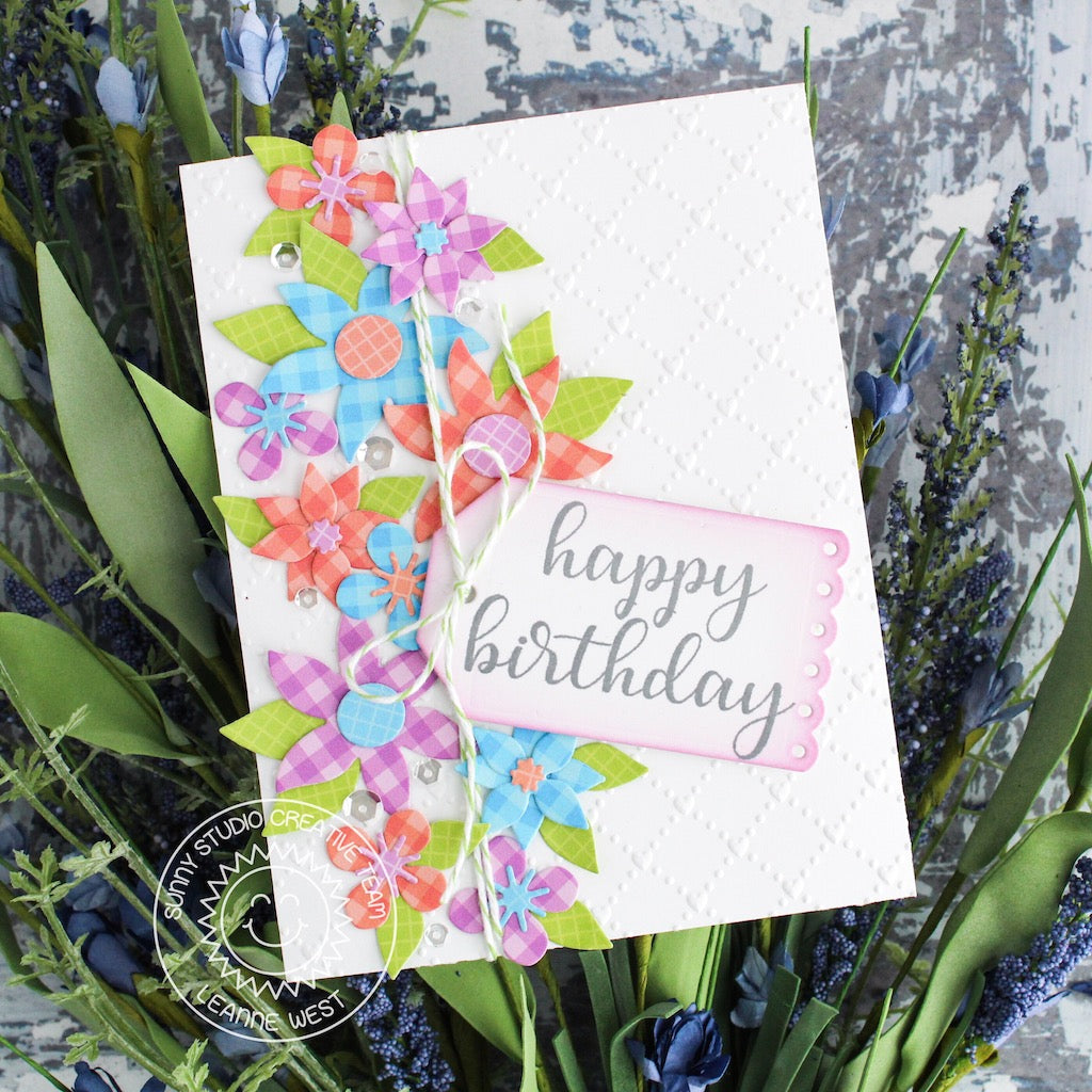 Sunny Studio Stamps Floral Birthday Card (using Quilted Hearts 6x6 Embossing Folder)
