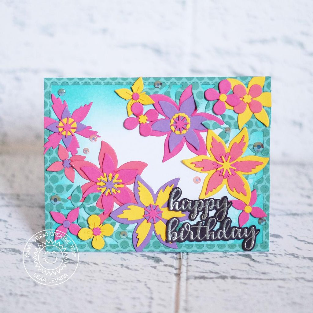 Sunny Studio Stamps Botanical Backdrop Colorful Flowers Birthday Card by Lexa Levana