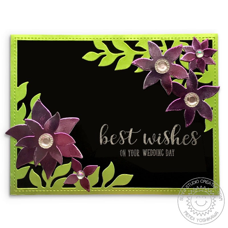Sunny Studio Stamps Metallic Floral with Leaves Black & Silver Wedding Card (using Everyday Greetings Stamps)