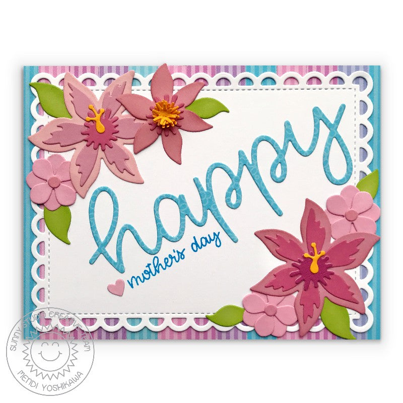 Sunny Studio Stamps Floral Lacey Scalloped Mother's Day Card (using Frilly Frames Lattice Dies with)