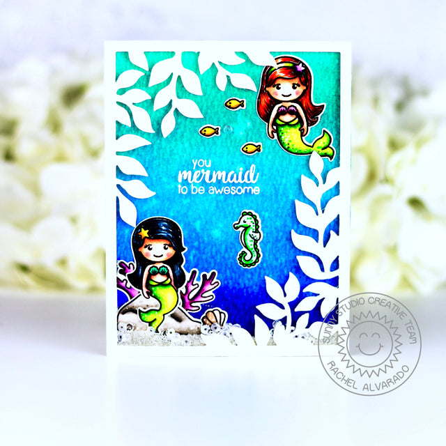 Sunny studio Stamps Botanical Backdrop Mermaid Under The Sea Card by Rachel