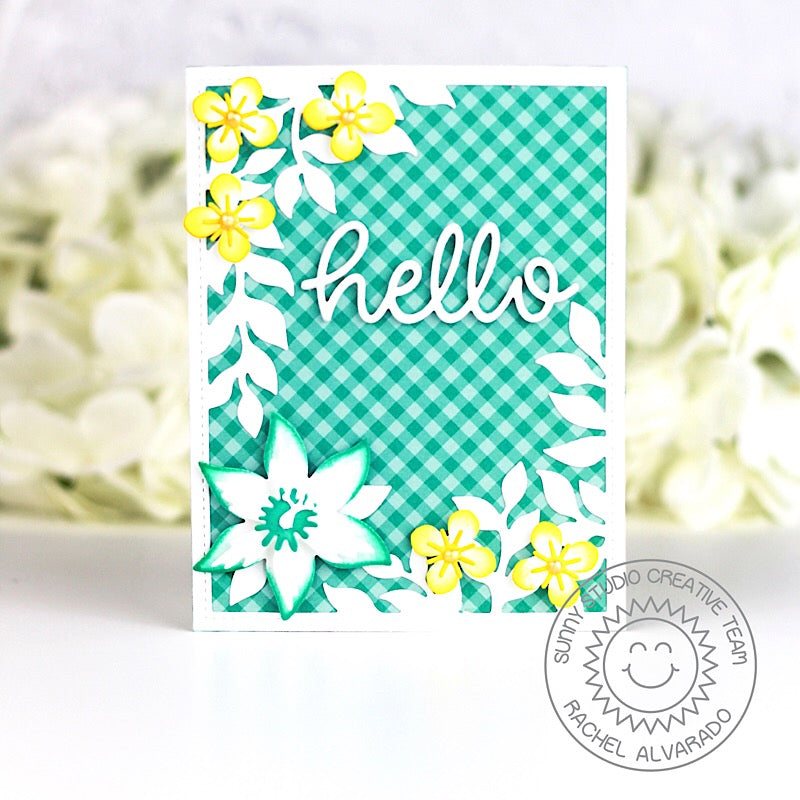 Sunny Studio Stamps Botanical Backdrop Aqua & Yellow Gingham Flower Hello Card