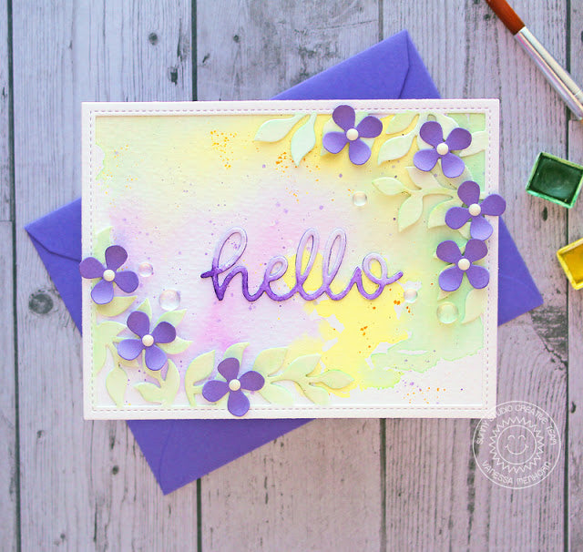 Sunny Studio Stamps Lavender Pastel Flower Hello Card by Vanessa Menhorn (using Botanical Backdrop Die)