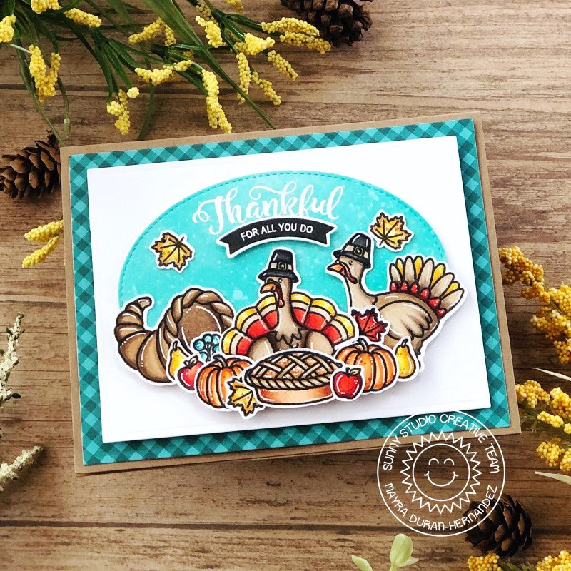 Sunny Studio Stamps Thankful For All You Do Thanksgiving Turkey Handmade Fall Harvest Themed Card (using Gingham Jewel Tones Double Sided 6x6 Patterned Paper Pack Pad)
