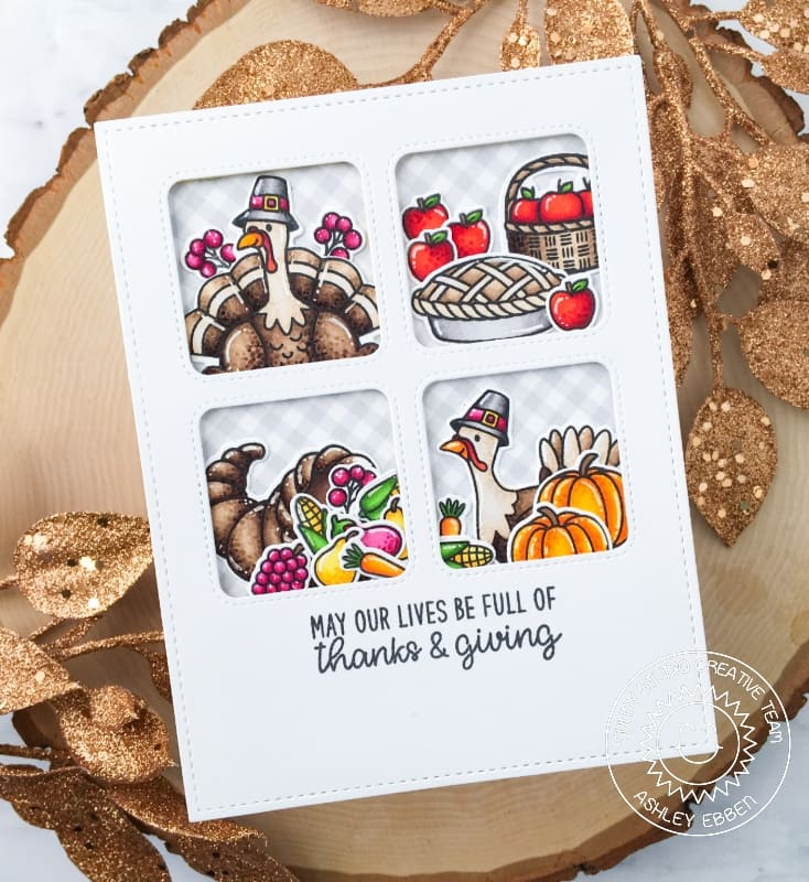 Sunny Studio May Our Lives Be Full of Thanks & Giving Thanksgiving Turkey Handmade Slimline Fall Themed Card with Scalloped Edge (using Bountiful Autumn 4x6 Clear Stamps)
