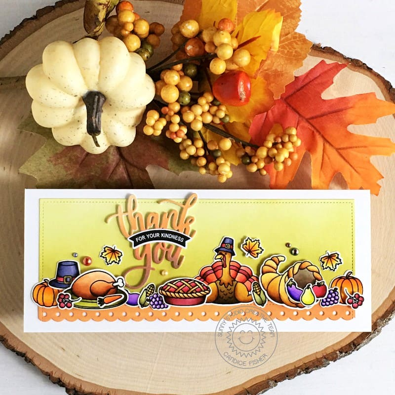 Sunny Studio Thank You For Your Kindness Thanksgiving Turkey Dinner Handmade Slimline Fall Themed Card with Scalloped Edge (using Bountiful Autumn 4x6 Clear Stamps)