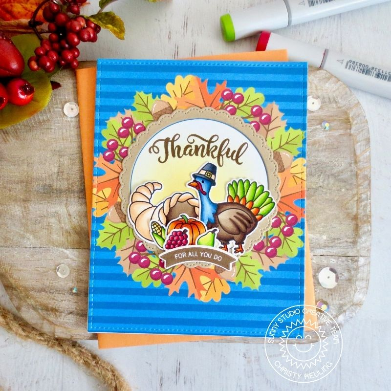Sunny Studio Stamps Thankful Turkey with Leaves and Blue Striped Background Handmade Fall Card (using Colorful Autumn 6x6 Patterned Paper Pad)