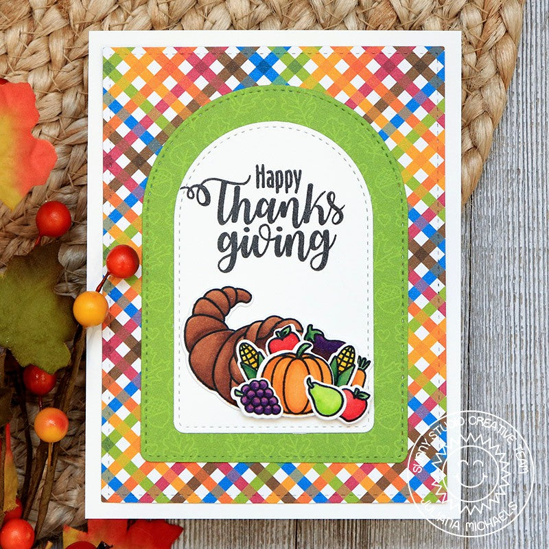Sunny Studio Stamps Happy Thankgiving Cornucopia Plaid Handmade Fall Harvest Themed Card (using Stitched Arch Metal Cutting Dies)