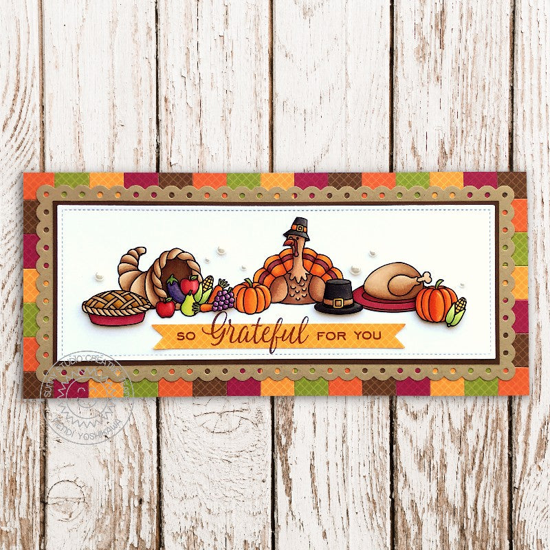 Sunny Studio Stamps Thanksgiving Turkey with Cornucopia Slimline Handmade Fall Harvest Themed Card (using Gingham Jewel Tones Double Sided 6x6 Patterned Paper Pack Pad)