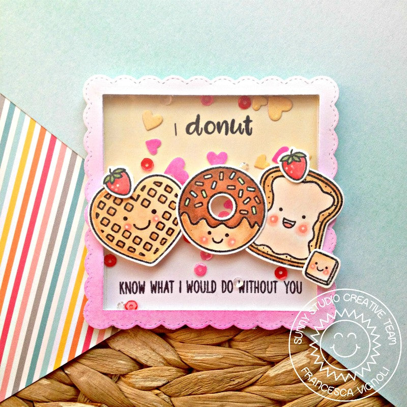 Sunny Studio Stamps I Donut Know What I Would Do Without You Punny Waffle, Donut and Toast Heart Shaker Card Card (using Basic Mini Shape 3 Exclusive Metal Cutting Dies)