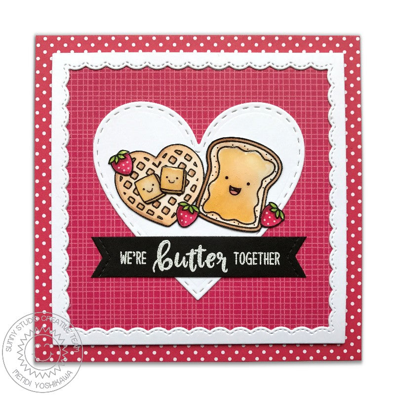Sunny Studio Stamps Fancy Frames Square Toast & Heart Waffle Valentine's Day Card