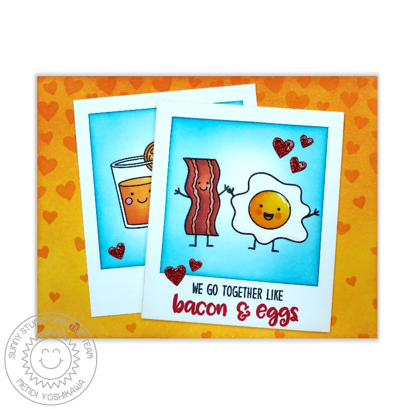 Sunny Studio Stamps Bacon & Eggs Heart Card (using exclusive Basic Mini Shape Dies II)