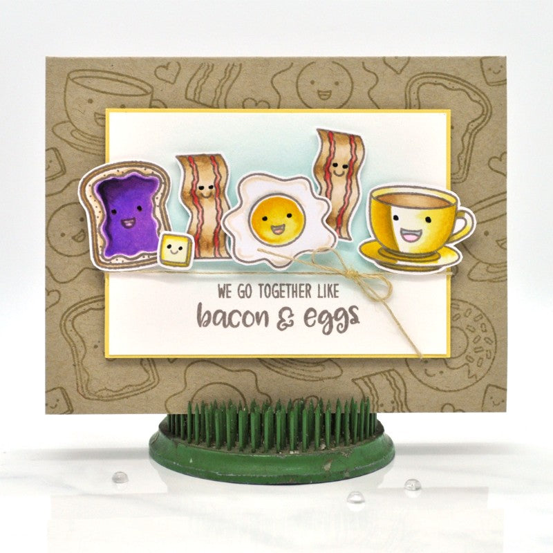 Sunny Studio Stamps Breakfast Puns Bacon & Eggs Kraft Card by Debbie Olson