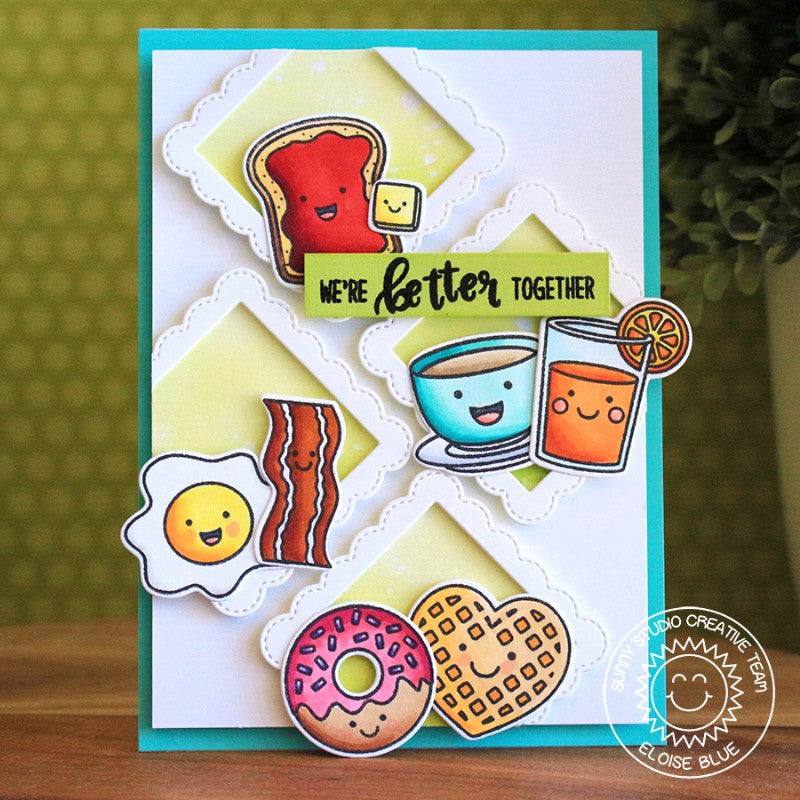 Sunny Studio Stamps Fancy Frames Squares Breakfast Puns Diagonal Grid Card by Eloise Blue