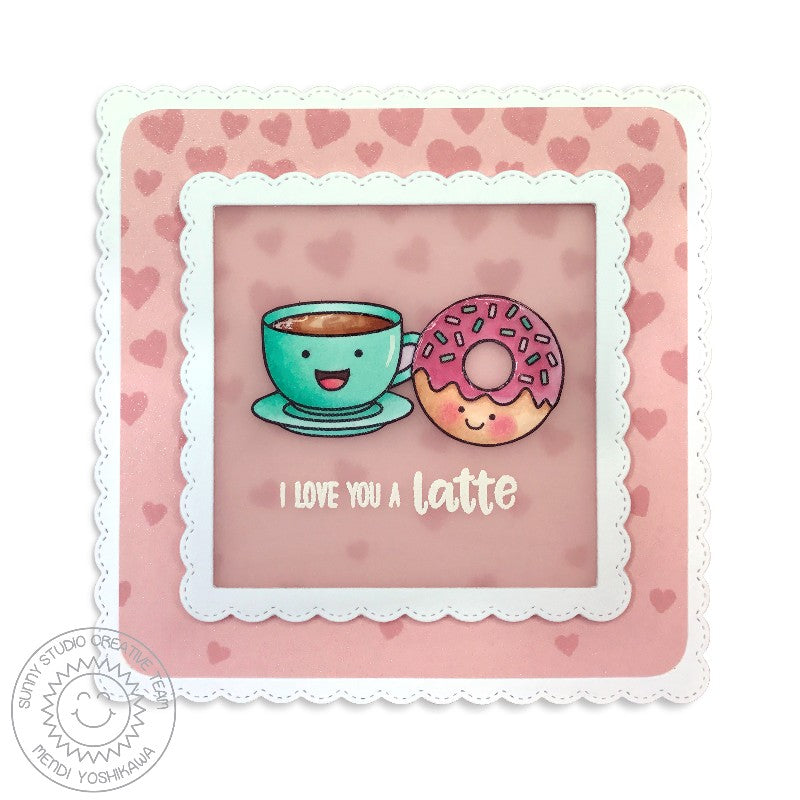 Sunny Studio Stamps Fancy Frames Squares Donut & Latte Card by Mendi Yoshikawa