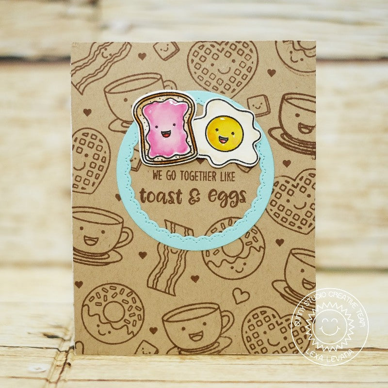 Sunny Studio Stamps Breakfast Puns Toast & Eggs Card using Fancy Frames Circle Dies