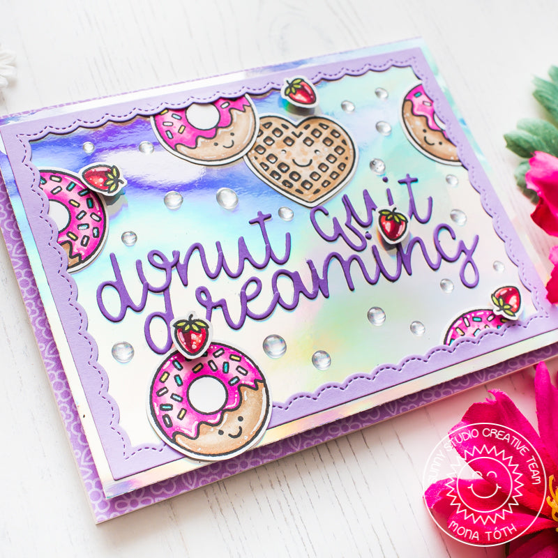 Sunny Studio Stamps Breakfast Puns Donut Quit Dreaming Lavender Iridescent Waffles & Donuts Card