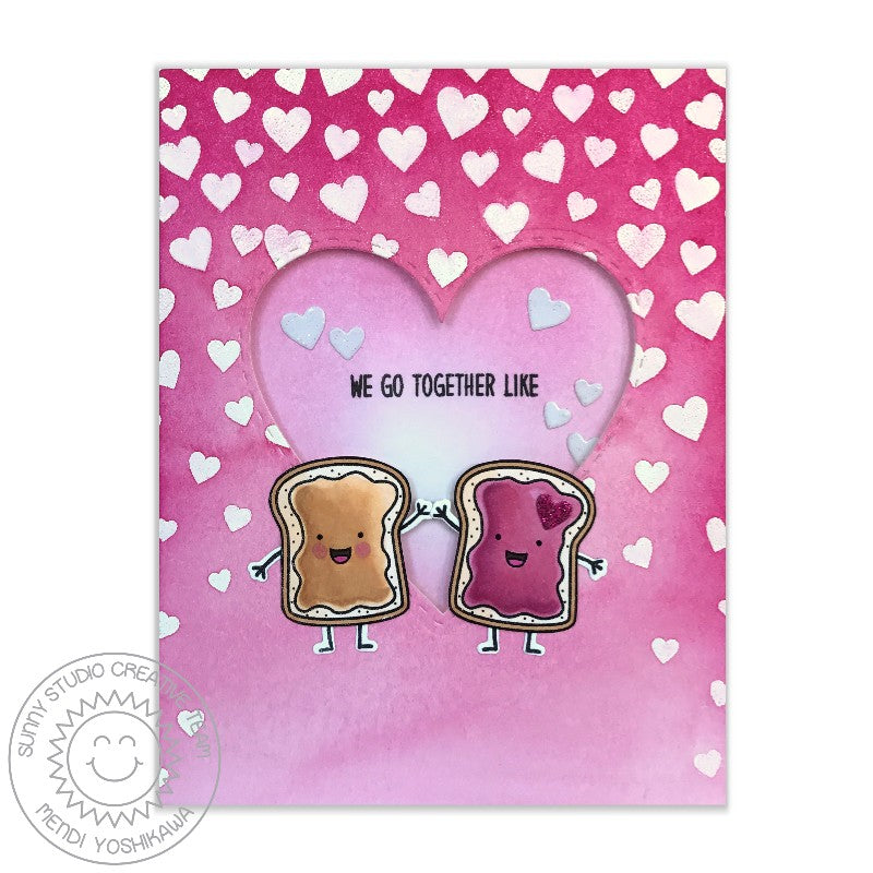 Sunny Studio Stamps Breakfast Puns We Go Together Like PB&J Card by Mendi Yoshikawa