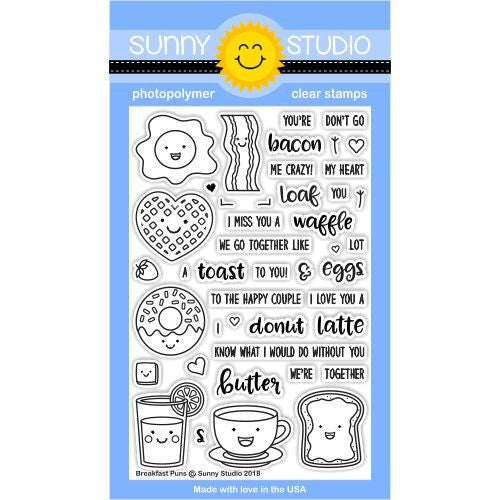 Sunny Studio Stamps Breakfast Puns Love Themed 4x6 Clear Photopolymer Stamp set