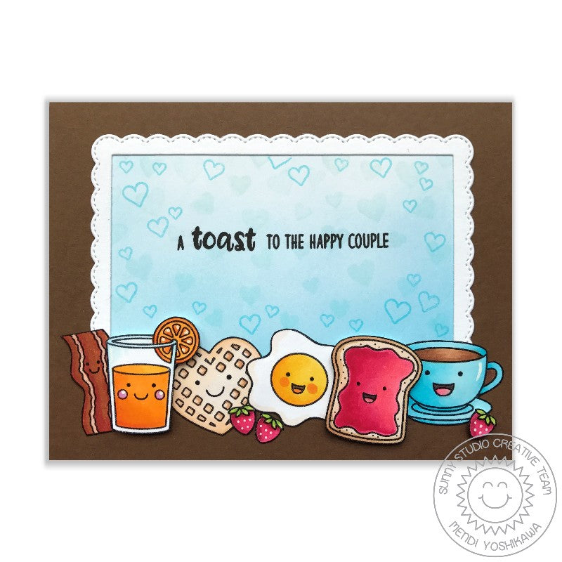 Sunny Studio Stamps Breakfast Puns A Toast To The Happy Couple Card by Mendi Yoshikawa