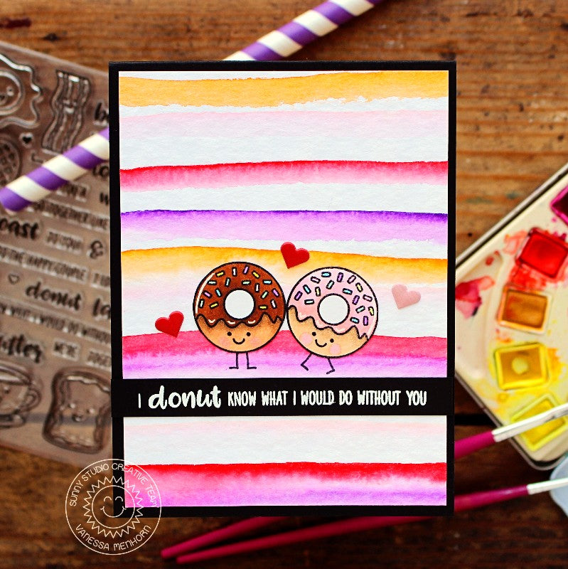 Sunny Studio Stamps Breakfast Puns Donuts Valentine's Day Card with Watercolor Stripes