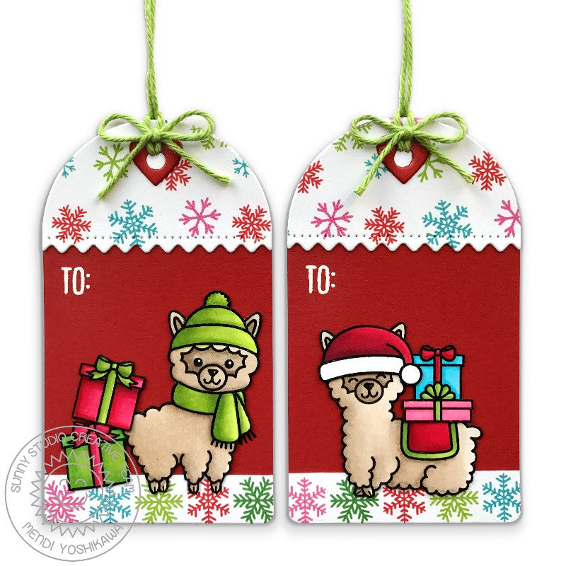 Sunny Studio Stamps Build-A-Tag #1 Alpaca Snowflake Print Christmas Gift Tags
