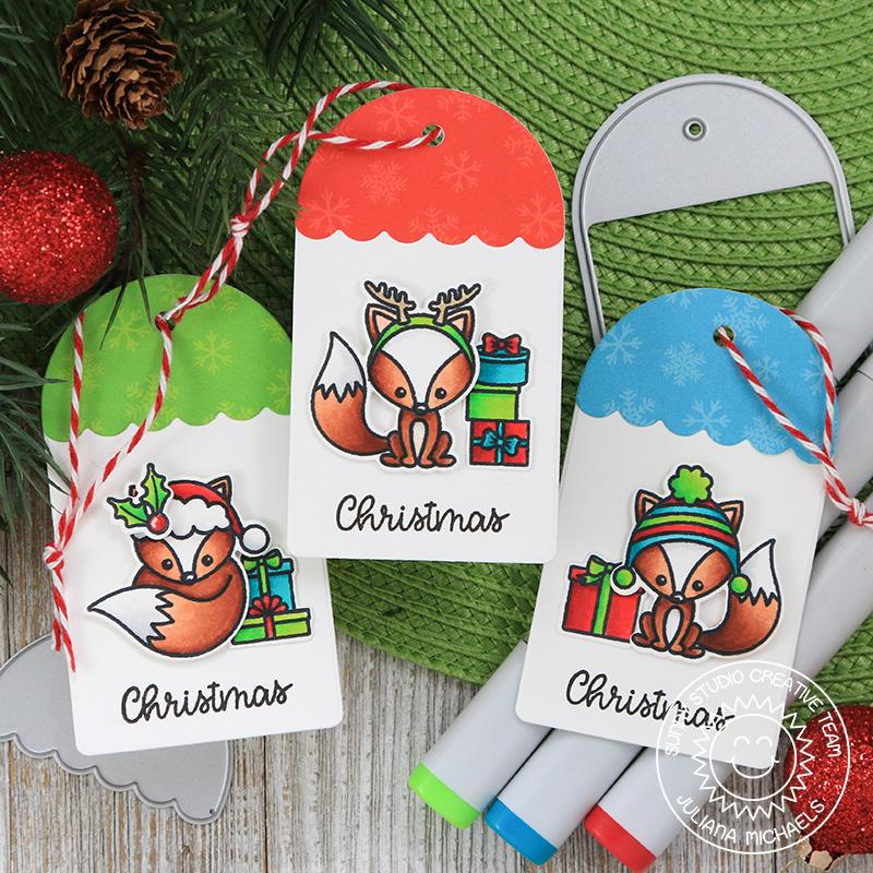 Sunny Studio Stamps Fox Christmas Gift Tags using Build-A-Tag #1 dies