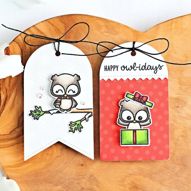 Sunny Studio Stamp Owl Christmas Gift Tags (using Build-A-Tag #1 dies)