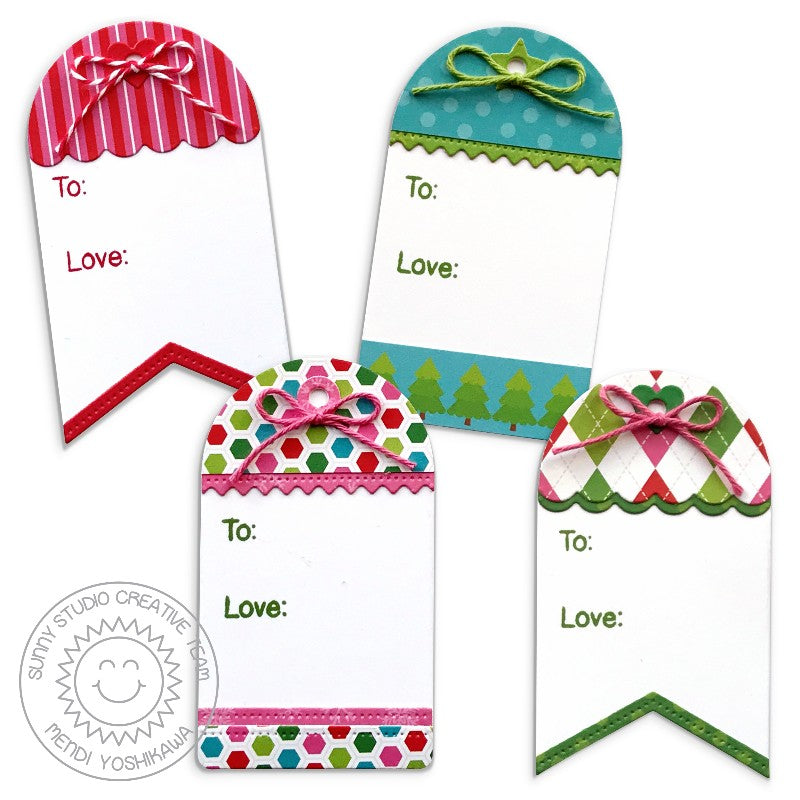 Sunny Studio Stamps Build-A-Tag #1 Mix and Match Holiday Gift Tag Set