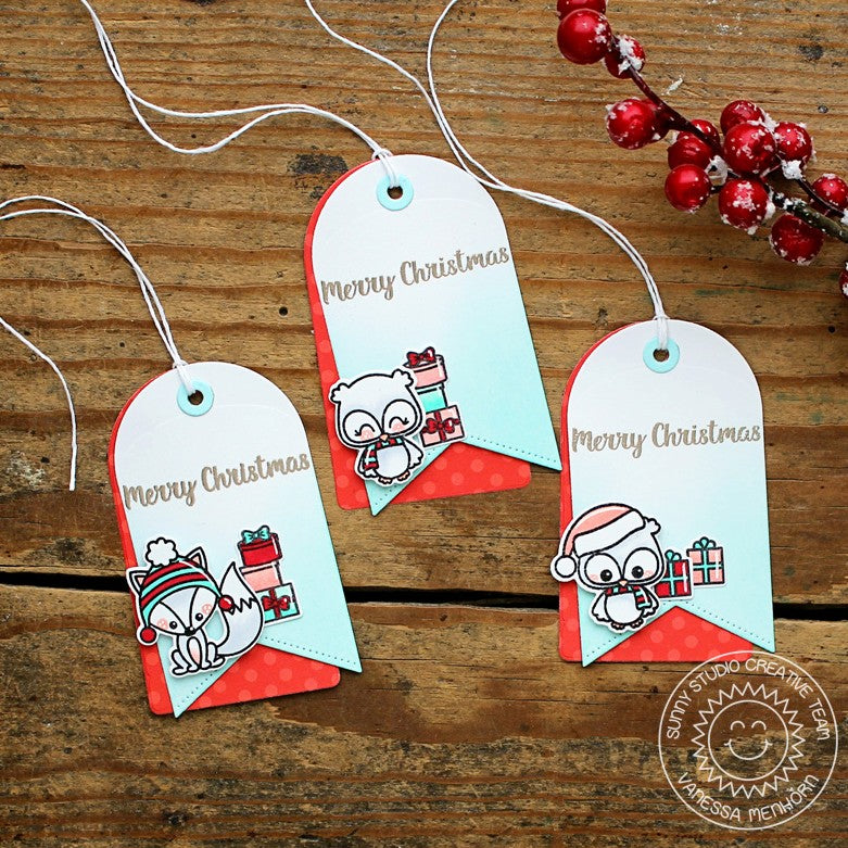 Sunny Studio Stamps Fox & Owl Themed Christmas Holiday Gift Tags (using Build-A-Tag #1 Dies)