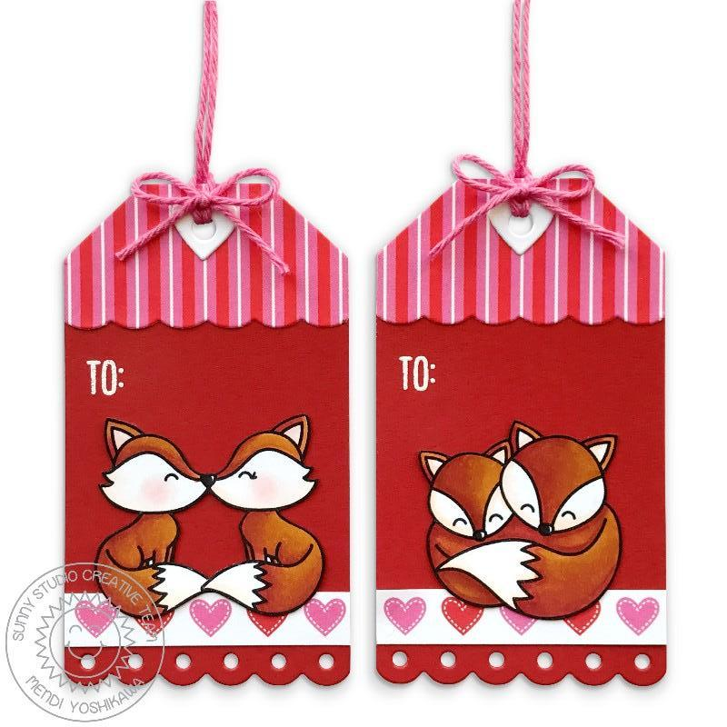 Sunny Studio Stamps Build-A-Tag #2 Foxy Fox Red Scalloped Valentine's Day Gift Tags