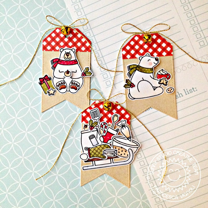 Sunny Studio Stamps Blissful Baking Playful Polar Bear Gift Tags by Franci (using Build-A-Tag #2 dies)